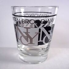 NYC New York City souvenir shot glass letters black brown & white on clear