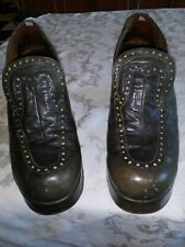 70's Disco Shoes Platforms Size 8.5 Mens Leather Olive Green
