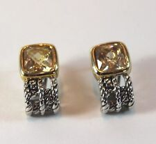 NEW Designer Inspired Cable Weave & Square Champagne Topaz Crystal Earring