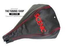 """Per Renault Scenic II 2003-08 Cuffia Leva Cambio Pelle Nero """"SCENIC"""" Rosso Logo"""