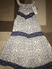 NWT O'Neill Jrs Renee Printed Halter Dress Blue/White floral High Neck Med $50