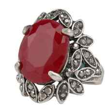 Red Rhinestone Silver Plated Vintage Style Women's Ring Wedding Jewelry