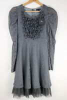 Anthropologie RYU Lace Tulle Bottom Dress Gray Grey Size Small