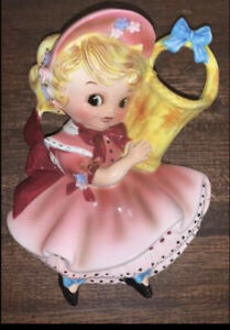 Vintage Lefton Miss Dainty Pie 744 Wall Vase/Wall Pocket
