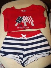 Toddler Girls 4T Jumping Beans 2Pc. Red/White/Blue Shorts Outfit 4-Th Of July