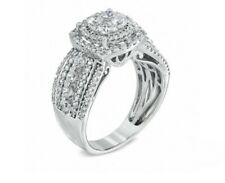 Ring in 10K White Gold Size 8 1-1/2 Ct. T.W Diamond Layered Framed Cluster