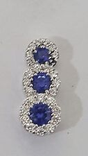TRILOGY PENDANT NECKLACE WHITE GOLD 18 KT DIAMONDS AND SAPPHIRE NATURAL