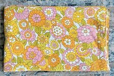 Retro Mohawk Orange Pink Yellow Flower Power Vintage Double Bed Flat Sheet