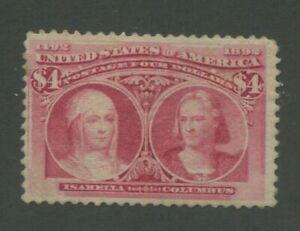 1893 United States Postage Stamp #244 Mint Lightly Hinged F/VF Regummed