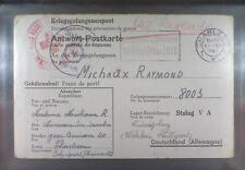 Camp Stalag VA Ludwigsburg 1941 POW Prisoner Belgium Red Cross Rote Kreuz K46z