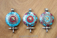 PN151 Nepal Tibetan Prayer Box Pendant Necklace Om Turquoise Coral Stone Gau Box