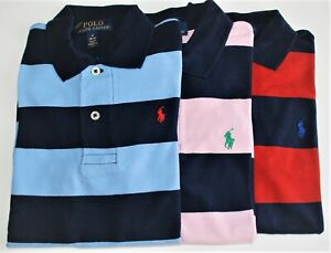 Boys Ralph Lauren Soft Cotton Navy Striped Rugby Style Polo Shirt CLEARANCE