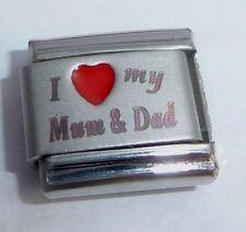 I LOVE MY MUM & DAD 9mm Italian Charm RED HEART N267 - fits Classic Bracelets