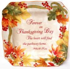 4 AUTUMN HARVEST THANKSGIVING 222 FIFTH FALL CERAMIC SQUARE SIDE SALAD PLATES