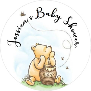 WINNIE THE POOH BABY SHOWER CUSTOM ROUND LABELS PARTY STICKERS FAVORS CLASSIC Y