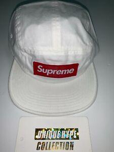 SUPREME 2018 S/S MILITARY BOX LOGO CAMP CAP HAT 5 6 PANEL WHITE STRAPBACK