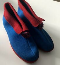 Mid Century Blue Red Soft Sole Size 3 Slippers Dead Stock Wool Blend