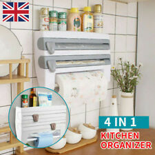 4 in1 Kitchen Roll Dispenser Cling Film Tin Foil Wall Mounted_Towel Holder Rack_