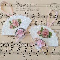 Shabby Victorian Chic Pink Rose Fan Christmas Ornaments German Glass Glitter