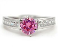 3CT Pink Sapphire & Topaz 925 Solid Sterling Silver Ring Jewelry Sz 9