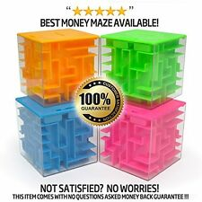 US 3D Maze Coin Box Puzzle Dollar Money Saving Piggy Bank Cube Toy Gift Orange