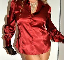 M&s Rouge Brillant Wet Look Satin Soirée Bureau Chemisier Haut Taille UK 18