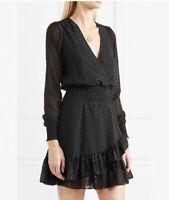 Michael Kors Sparkly long sleeve Black Mini party Dress US Small v neck ruffles