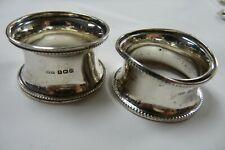 Solid Silver Hallmarked William Hair Haseler Napkin Rings Birmingham 1912 J13
