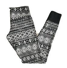 Bongo Womens Leggings Small Black & White Aztec Casual Lounge Stretch Soft Comfy