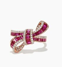 NEW! Rose Gold, Ruby & Diamond Bow Ring By Effy/ Size 7 /$3,400