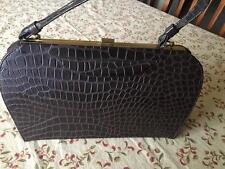 Vintage Brown Faux Leather Crocodile handbag Purse Embossed Gold Hardware Nice