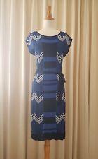 ESPRIT Metalic Striped Knit Dress Midi, Navy Blue Size M EUC
