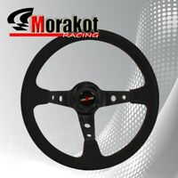 350mm Deep Dish 6 Bolt Suede Leather Steering Wheel Black Center (Red Stitching)
