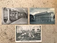 Lot 3 Japanese Postcards RPPC real photo Black and white Japan war Metro subway