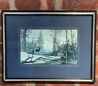 Rhode Island Artist Howard Connolly Original Watercolor. Green Mist Stag. Signed