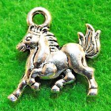 50Pcs. WHOLESALE Tibetan Silver 3D HORSE Charms Pendants Earring Drops Q0890