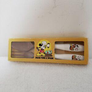 Vintage Mickey Mouse Salad Serving Fork Spoon Walt Disney Prod Made In Japan