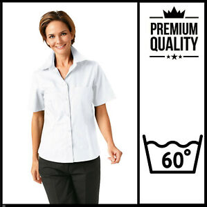 UK 26 Ladies Short Sleeve Formal Oxford Shirt Blouse BUSINESS OFFICE WORK CASUAL