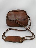 VINTAGE Leather Shoulder Bag Borsa Tracolla Marrone In Pelle Donna Woman