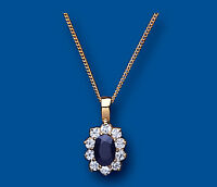 Sapphire pendant Sapphire Necklace Cluster Yellow Gold Sapphire Pendant