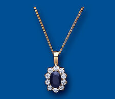 "Yellow Gold Real Sapphire Oval Cluster Pendant With 18"" Chain UK Made Hallmarked"