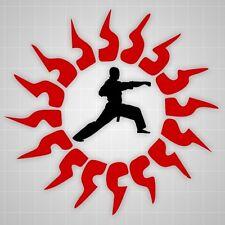 Martial artist punch wall decals,Taekwondo Martial Arts Tribals Sun wall sticker