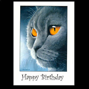 British Blue Shorthair cat art greetings cards from painting by Suzanne Le Good
