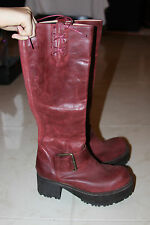 JEFFREY CAMPBELL RED BURGUNDY BUCKLED VING BOOTS SIZE 7