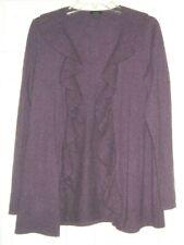 Talbots Pure Cashmere Ruffle Front Open Style Purple Heather Cardigan LG