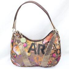 Le Sport Sac Purse Small Handbag Hippie Boho Art Style Hearts Flowers Gold