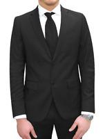 Vestito Uomo Elegante Blu Nero Slim Fit Abito Cerimonia Sartoriale Matrimonio
