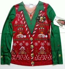 Faux Real Womens Long Sleeve Ugly Christmas Shirt Vest Costume Adult Small S