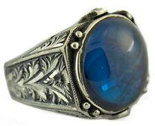 Sterling silver men ring handmade, blue amber stone, steel pen craft