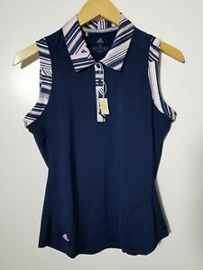 1 NWT ADIDAS WOMEN'S S/L POLO, SIZE: SMALL, COLOR: NAVY/PINK/WHITE (J111)